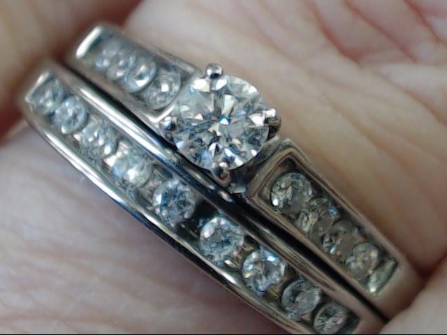 NATURAL DIAMOND 0.69 CTW WEDDING SET RING BAND 14K WHITE GOLD SIZE 8