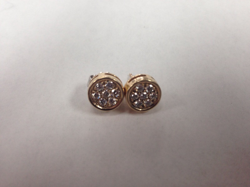 Gold-Diamond Earrings 14 Diamonds .70 Carat T.W. 14K Yellow Gold 3.9g