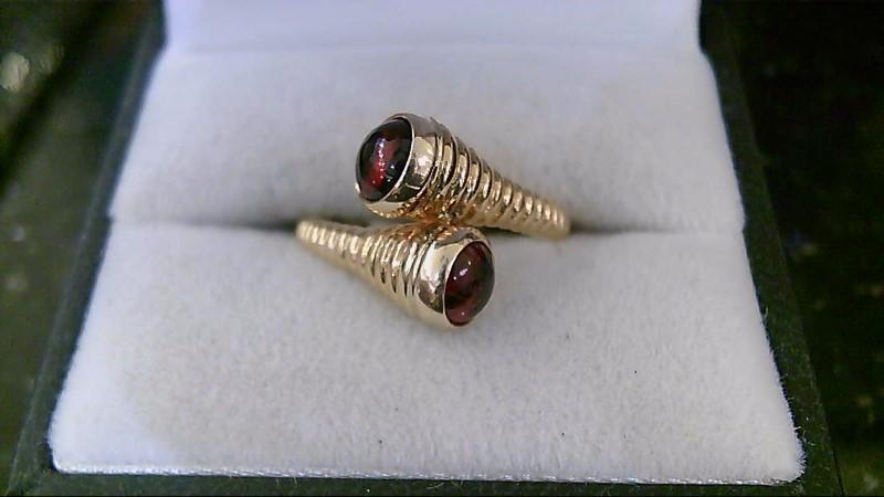 18K Yellow Gold Almandite Garnet Stone Ring Sz 6.75