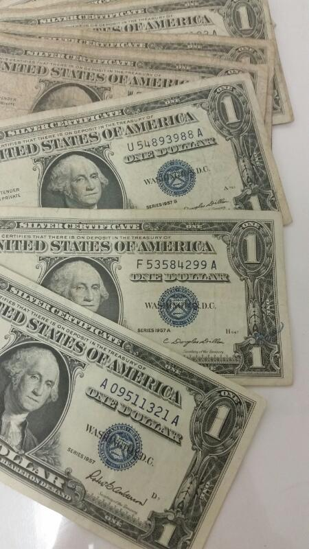 Lot of 20 1957, A & B One Dollar $1 Silver Certificates Blue Seal