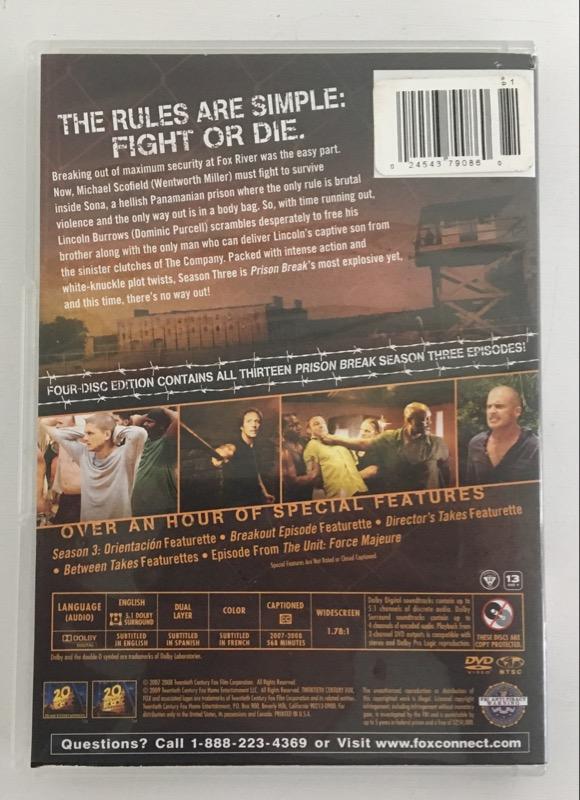 DVD BOX SET PRISON BREAK SEASON 3