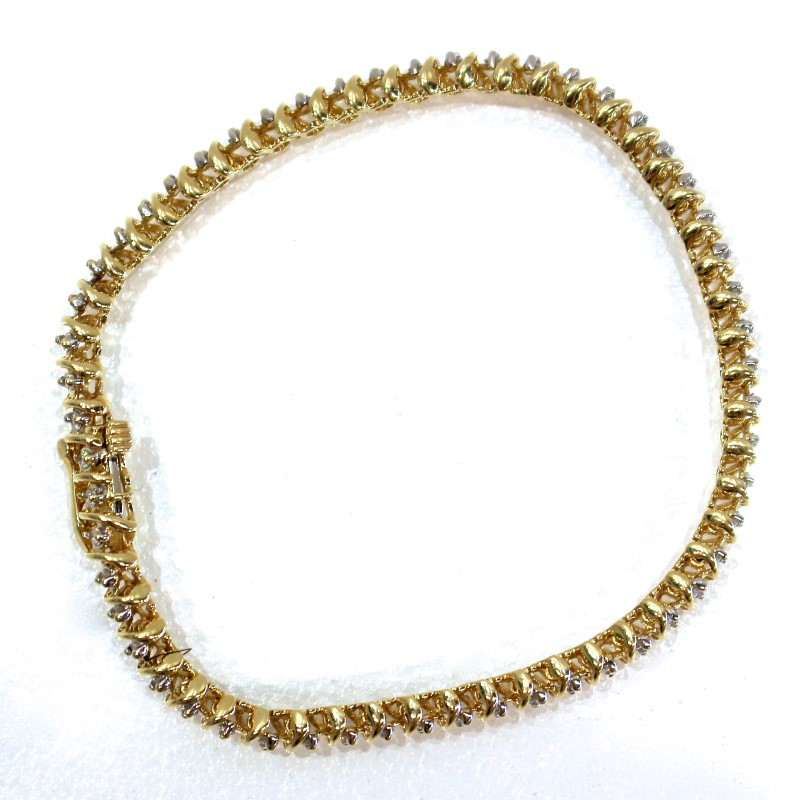 14K Yellow Gold Round Brilliant Diamond Bracelet