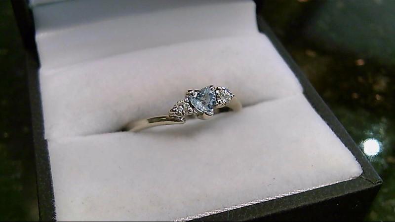 Blue Topaz Heart Stone & Diamond 14K WG Ring