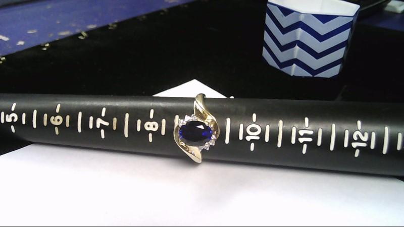 Blue Stone Lady's Stone & Diamond Ring 6 Diamonds .06 Carat T.W.
