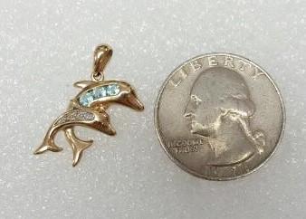 10K Yellow Gold Aquamarine & Diamond Double Jumpling Dolphin Pendant