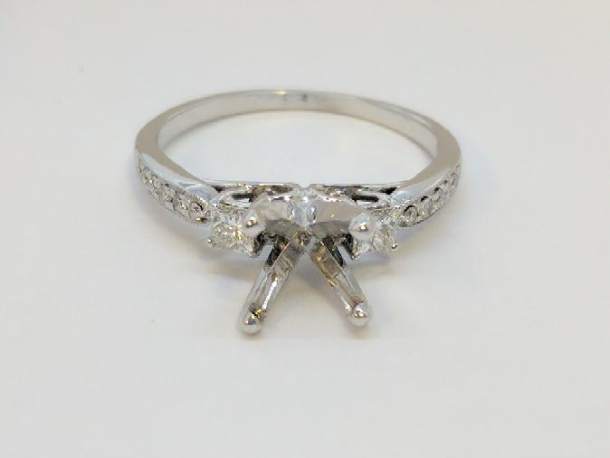 Lady's Diamond Ring Mount 14 Diamonds .32 Carat T.W. 14K White Gold 2.6g