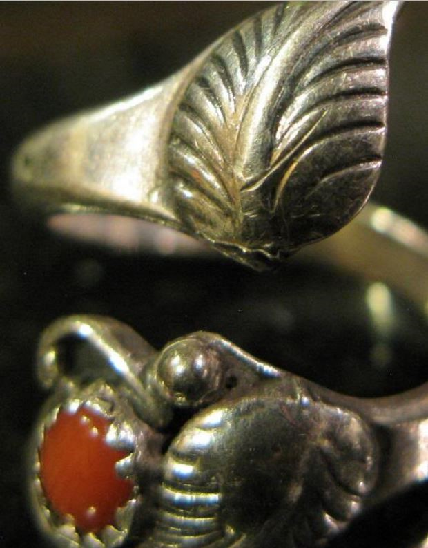 Coral Lady's Silver & Stone Wrap Ring 925 Silver 2.4dwt Size:5 (Adjustable)