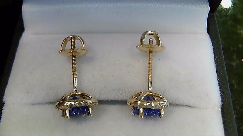 Genuine Tanzanite & Diamond 14K Yellow Gold Earrings Screwbacks