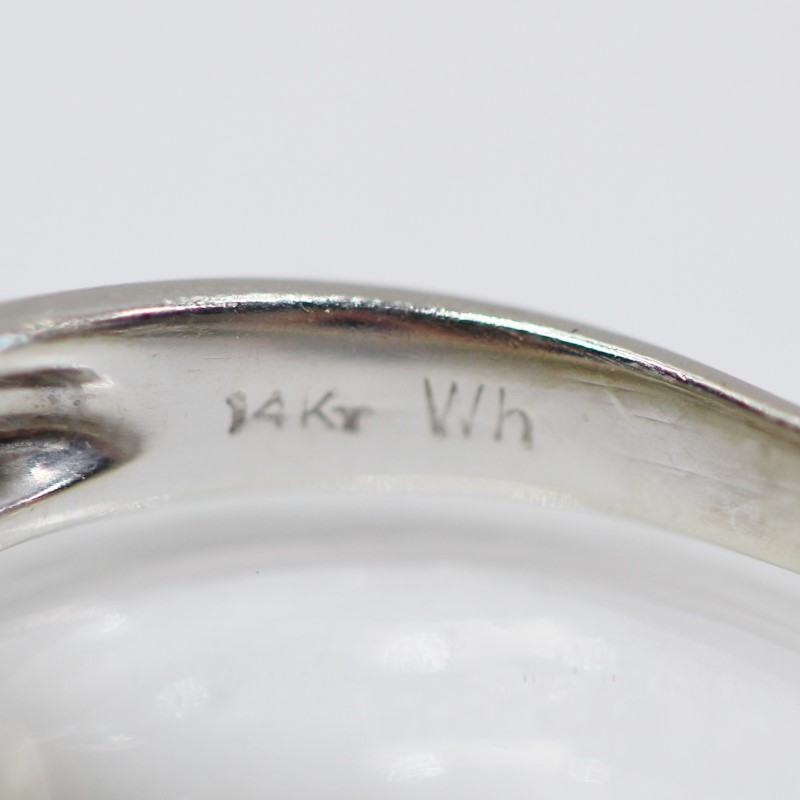 14K W/G Baguette & Round Brilliant Diamond Cluster Ring Size 7.5