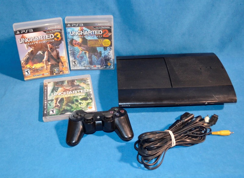 SONY PLAYSTATION 3 VIDEO GAME CONSOLE 250GB W/ 3 GAMES