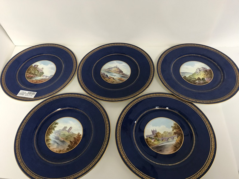 SET OF 5 WEDGWOOD PLATES ENGLAND CASTLE ARTHER DALE HOLLAND