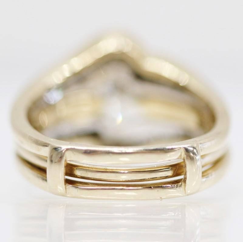 14k Y/G Marquise, Round & Baguette Cut Diamond Wedding Ring Set