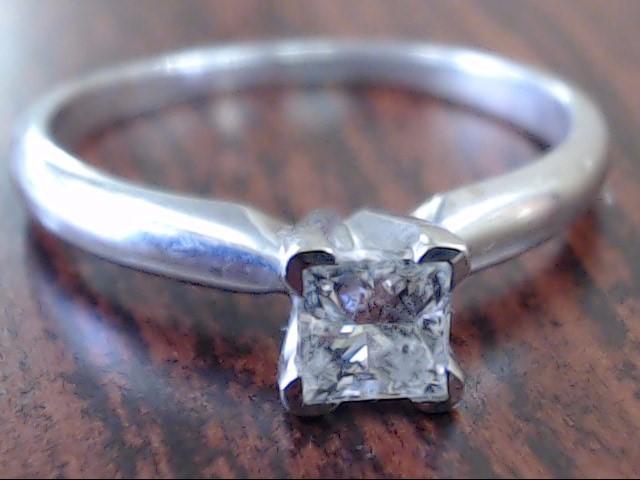 PRINCESS NATURAL DIAMOND .34 CTW ENGAGEMENT RING 14K WHITE GOLD 5.25