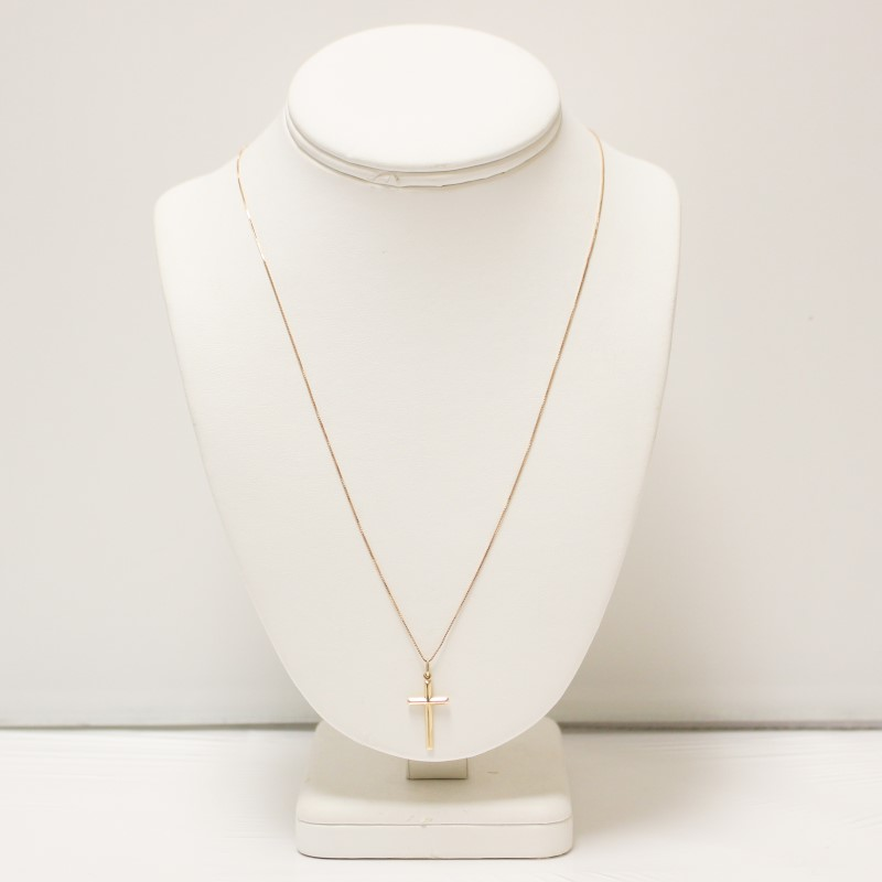 "14K Yellow Gold Cross Pendant & 23"" Box Chain Necklace"