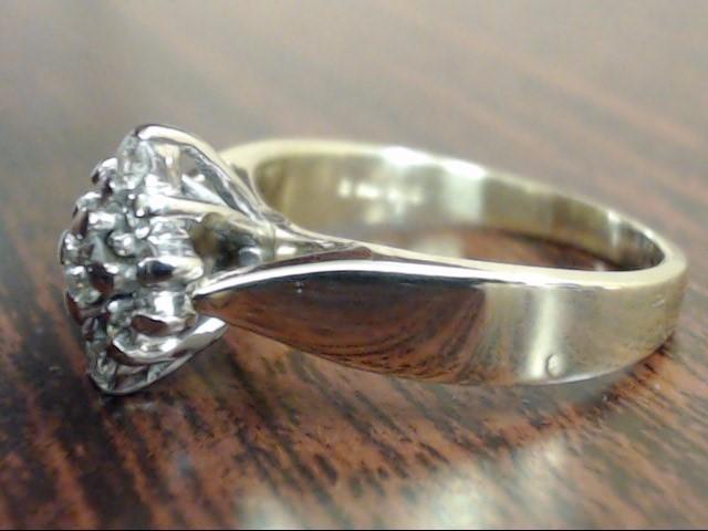 ESTATE 11 NATURAL DIAMOND CLUSTER RING REAL 14K GOLD 4.7g SIZE 6