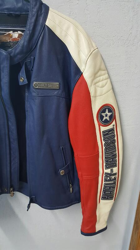 Rare Harley Davidson Rapid City Leather Jacket (L) - Red, White, Blue