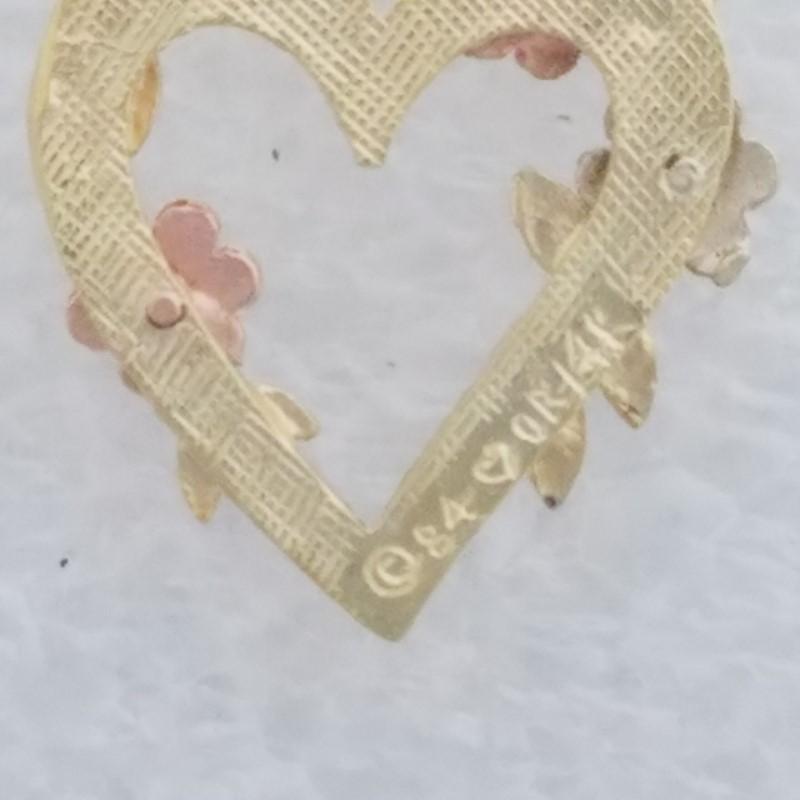 14K Tri-Color Gold Diamond Cut Flowers & Leaves Open Heart Outline Charm/Pendant