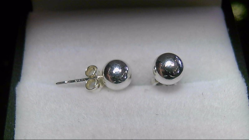 Silver Ball Stud Earrings 925 Silver 0.48g