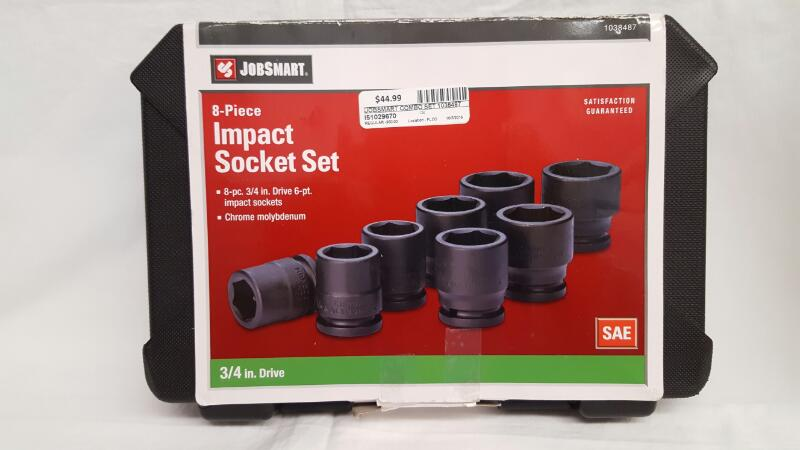 "JOBSMART 1038487 8pc 3/4"" 6pt Impact Socket Set, Chrome Molybdenum"