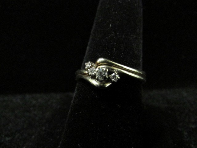 Lady's Diamond Wedding Set 4 Diamonds .19 Carat T.W. 14K White Gold 3.5g