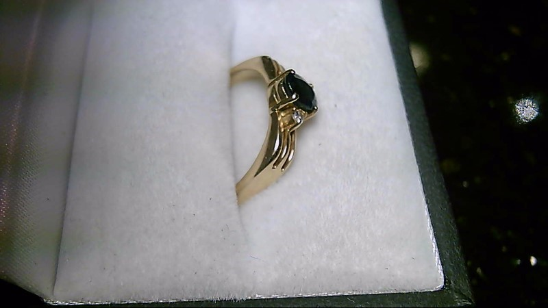 14K Yellow Gold Blue Sapphire & Diamond Ring Sz 7