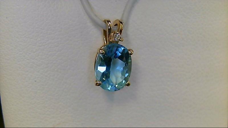 Sky Blue Topaz Gold Diamond 14K Yellow Gold Pendant