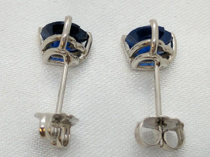 Blue Hearts set in 14k Stud Earrings