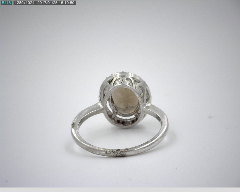 LADY'S STERLING SILVER 3.35CT SMOKY TOPAZ STONE RING W/MELEE SZ6.5 2.5G