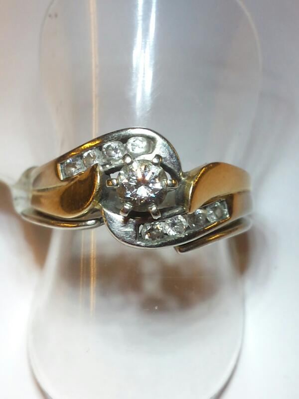 Lady's Diamond Wedding Set 9 Diamonds .32 Carat T.W. 10K 2 Tone Gold 3.2dwt