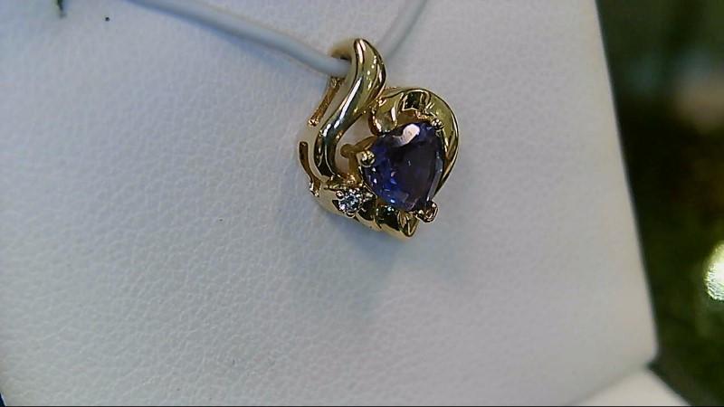 Mystic Topaz Gold-Diamond & Stone Pendant .01 CT. 14K Yellow Gold 1.24g