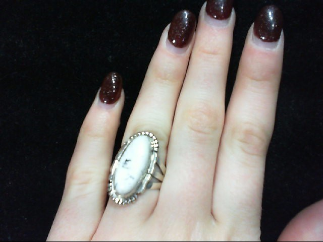 Lady's 925 Silver and White Buffalo Turquoise Ring Stamped FF 8.1g Size 7