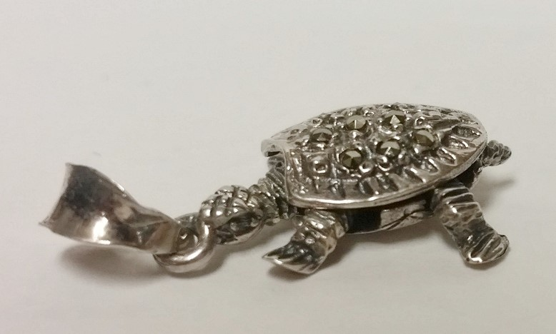 Sterling Silver Full Articulating (Moving) Marcasite Encrusted Turtle Pendant