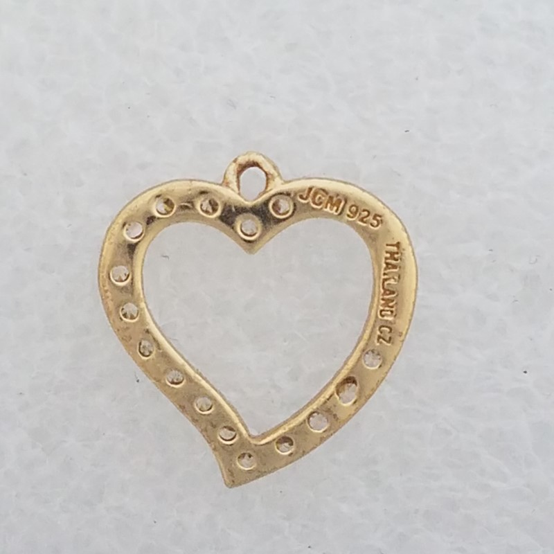 Designer Jacmel JCM 925 Sterling Silver Gold Toned CZ Open Work Heart Charm