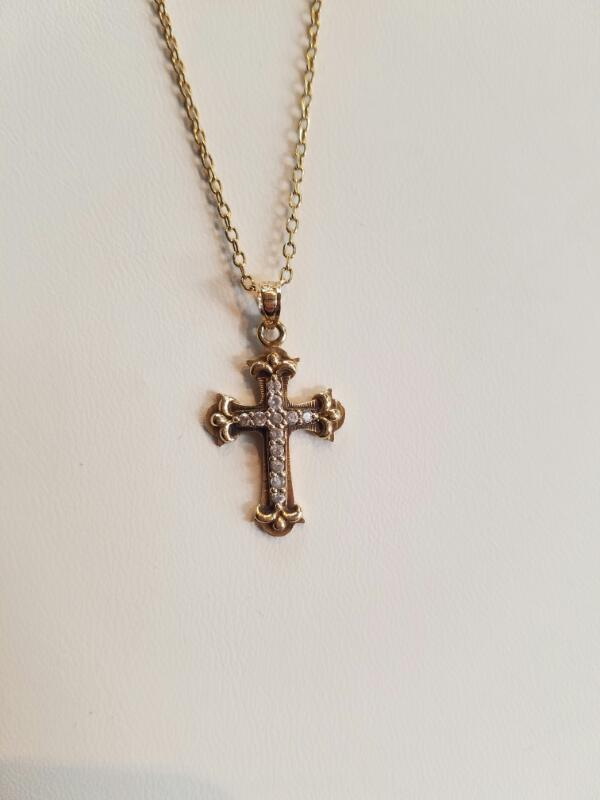 Gold Cross Necklace 14K Yellow Gold 4.2g (Free S/H)