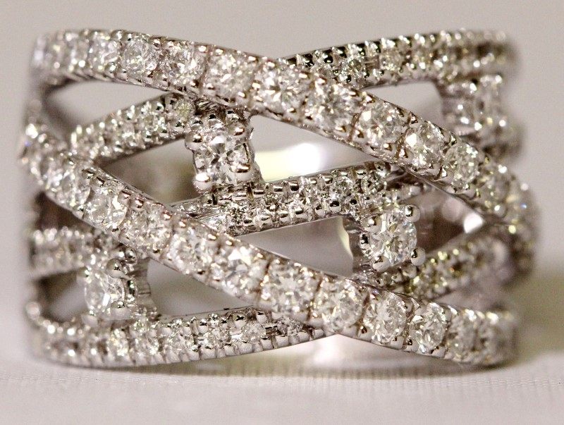Kay Jewelers 14K White Gold Round Diamond Crossover 1ct tw Cocktail Ring sz 6.5