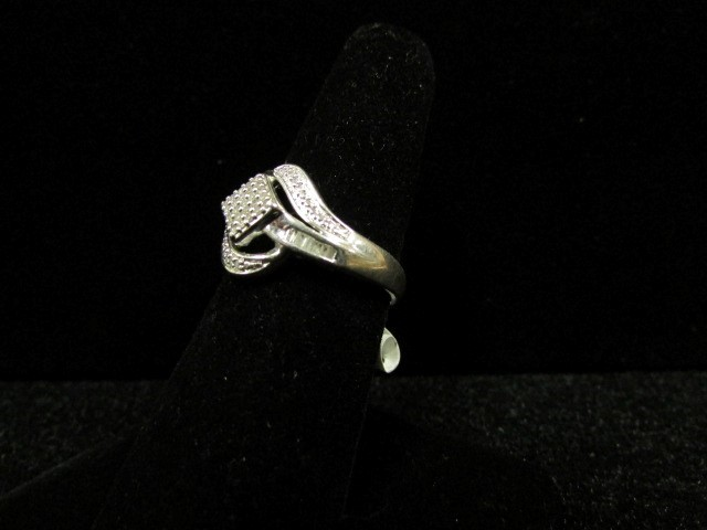 Lady's Silver-Diamond Ring 47 Diamonds .59 Carat T.W. 925 Silver 4.5g Size:7