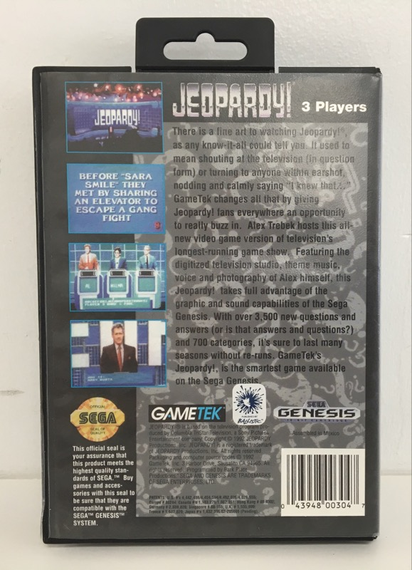 SEGA GENESIS JEOPARDY, COMPLETE WITH CASE AND MANUAL (1992).