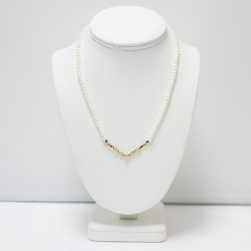"""Criss-Cross """"V"""" Shaped 14K Yellow Gold Pearl & Stone Necklace"""