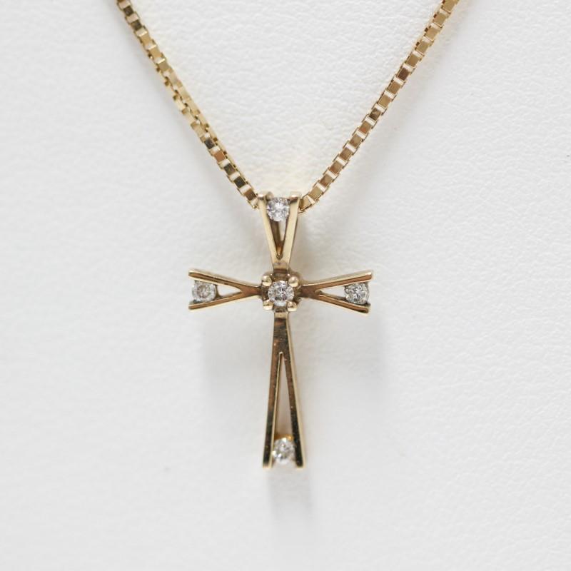 "18"" 14K Yellow Gold Round Brilliant Diamond Cross Necklace"