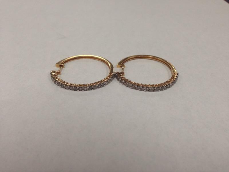 Gold-Diamond Earrings 40 Diamonds .80 Carat T.W. 14K Yellow Gold 4.9g