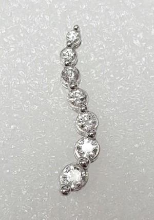 Sterling Silver 3/4 TCW Round Brilliant Diamond Journey Slide Pendant