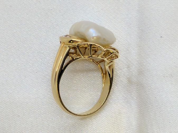 Baroque Pearl Lady's Ring with Almandite Garnet & Diamonds 14K Yellow Gold