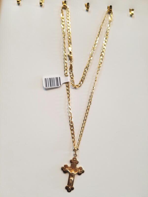 Gold Chain w/ Cross Pendant 14K Yellow Gold 12.5g (Free S/H)
