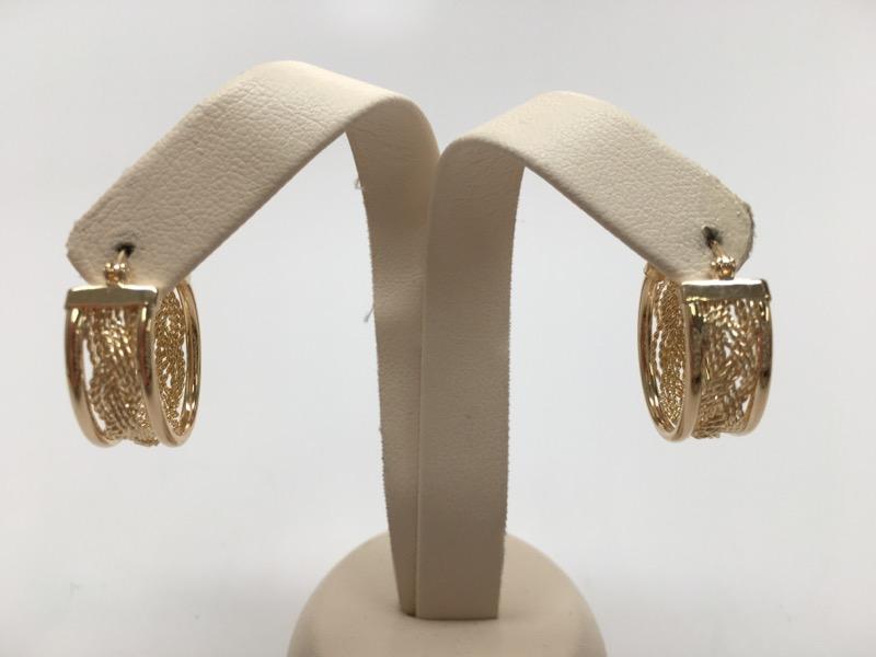 FASHION STYLE OVAL SHAPE HOOP EARRINGS 14K YELLOW GOLD
