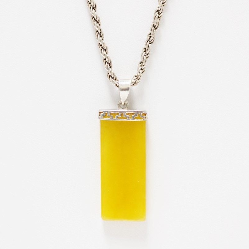 Sterling Silver Radiant Cut Gradient Yellow Glass Necklace