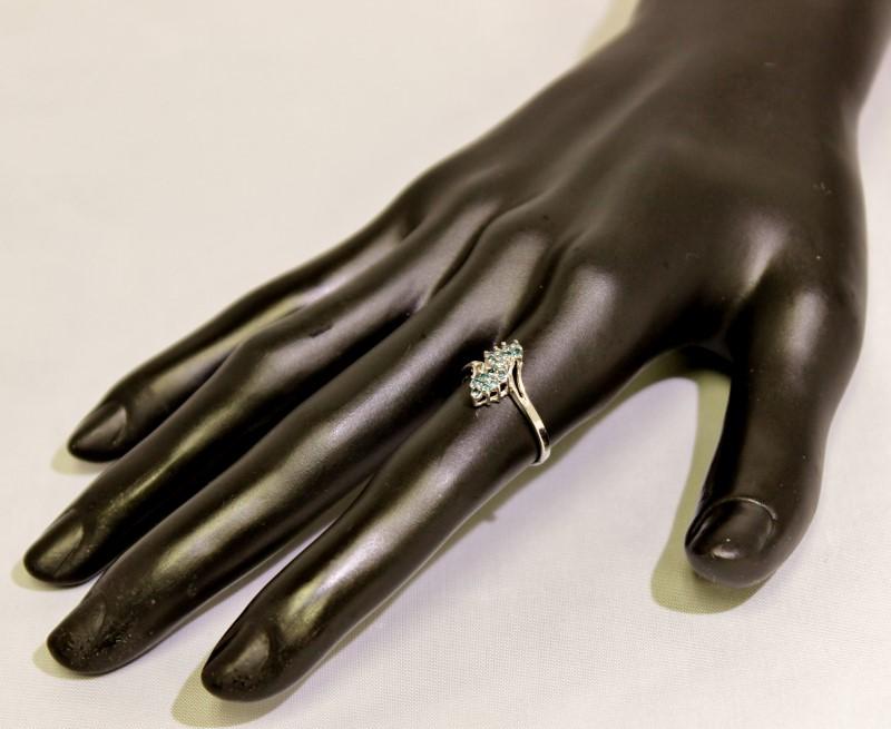 10K White Gold Dainty Split Shank Blue Diamond Cluster Waterfall Ring sz 6