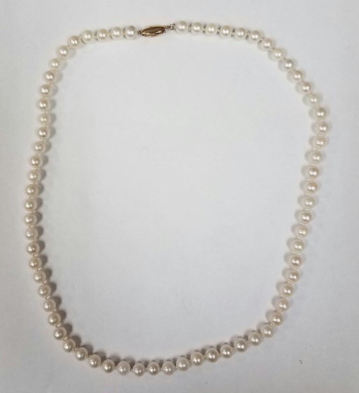 """17"""" PEARL NECKLACE 14KYG 19G YELLOW GOLD"""