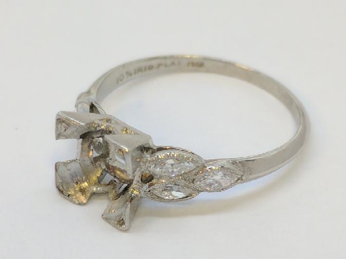Lady's Platinum-Diamond Ring Mount 6 Diamonds .30 Carat T.W. 950 Platinum
