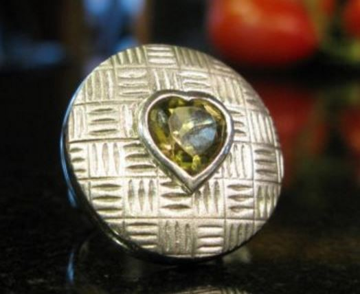 Heart Shaped Citrine in Round Cross Hatch Sterling Silver Ring, Size 7