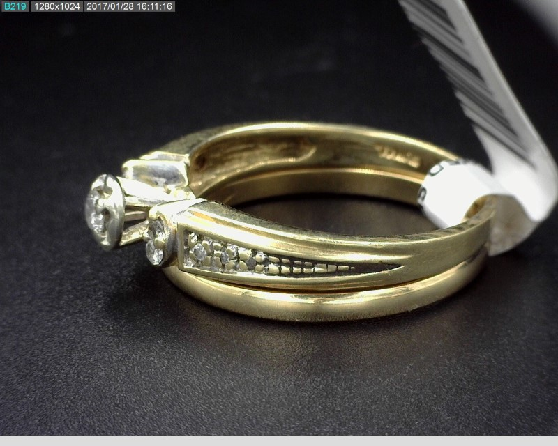 WEDDING SET WITH GOLD BAND 11DIAS APX.15CTW 14KYG 4.3G SZ7.5
